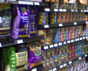 Cat food on shelves at Whole Foods Market