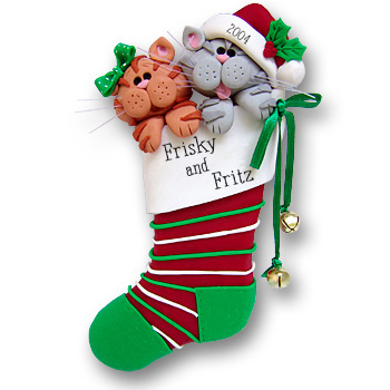 Two Cats in a Stocking