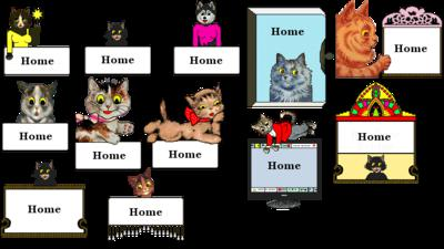 A few of the various cat navigation buttons for web sites