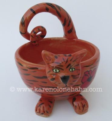 Handmade Orange Tabby Bowl