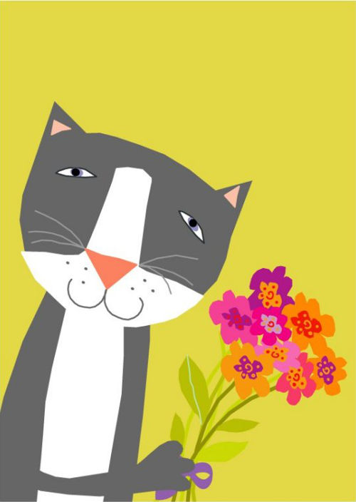 LizzyClara sweet gray cat with flowers