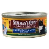 Newman's Own cat food organic beef and liver canned