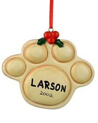 Pet paw ornament