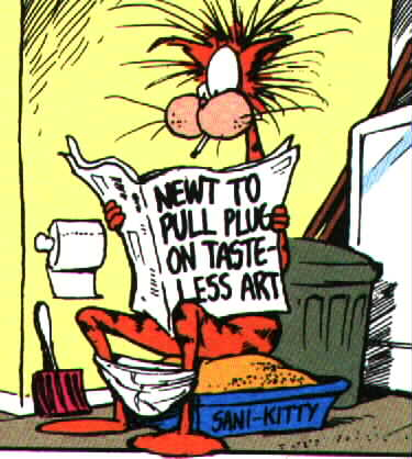 Bill the Cat on the litter box