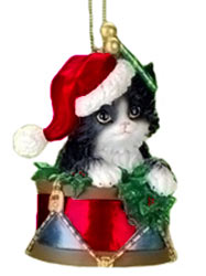black and white kitten ornament