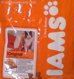 Iams cat food bag