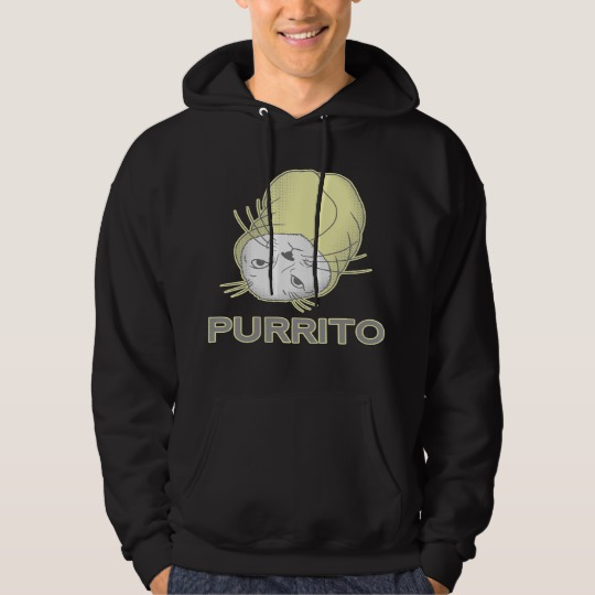 Black hoodie with purrito design on male model from Zazzle