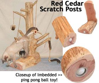 Red cedar scratching post